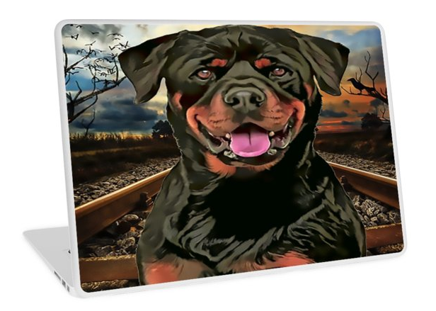 Premium High quality #LaptopSkins - #Rottweiler The Hobo #Dog #Art for your Macbook Air, Macbook Pro, Macbook Pro Retina, and PC laptops. These 1 mm thick skins/stickers give personality to your device while also providing scratch resistance