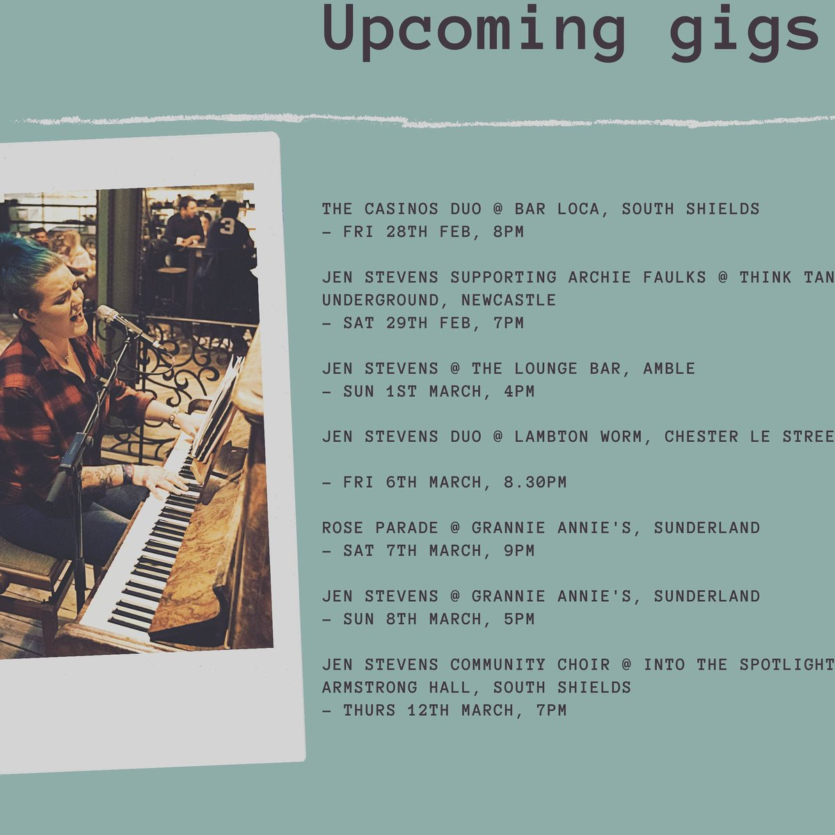 Upcoming gigs...  @archiefaulks  @TheLambton @GrannieAnniesPP  #livemusic #music #concert #live #singer #songwriter #pianist #piano #jenstevens #littleone #originalmusic #northeastmusic #newcastle #Sunderland #southshields #Amble #ukmusic #unsigned #giglist  📷 @JordanEmbleton_