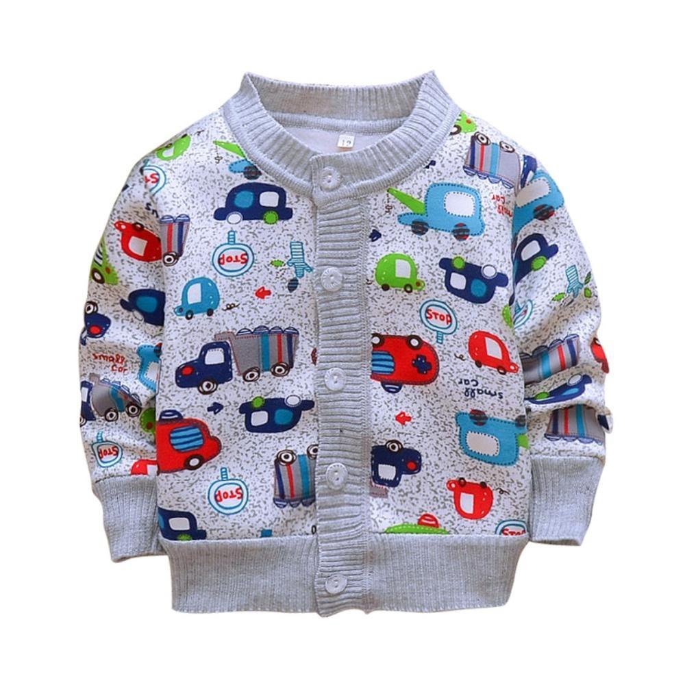 #baby Casual Cartoon Print Soft Sweater Jacket