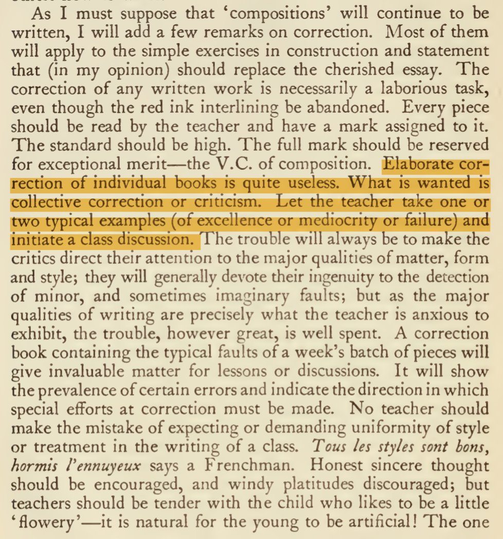 George Sampson writing in the 1920s about marking: