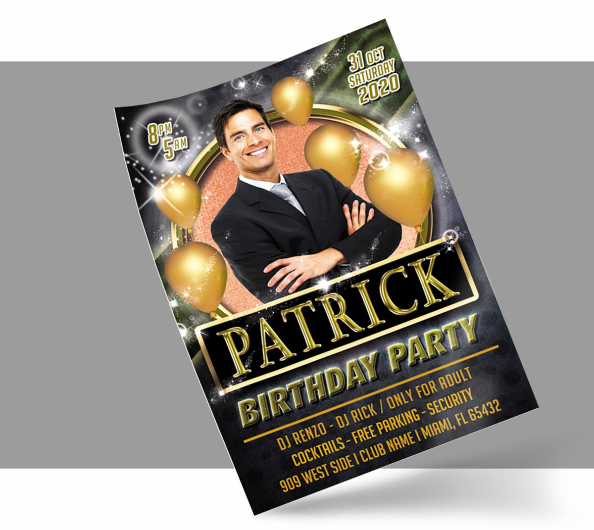 BIRTHDAY PARTY FLYER Template, Event Party Flyer | Birthday Invitation, Photoshop Template, Birthday Celebration, Customization Included https://etsy.me/2UBqBHO  #papergoods #negro #cumpleanos #oro #vertical #birthdayflyer #photoshoptemplate #flyerevent #invitation🎈✨