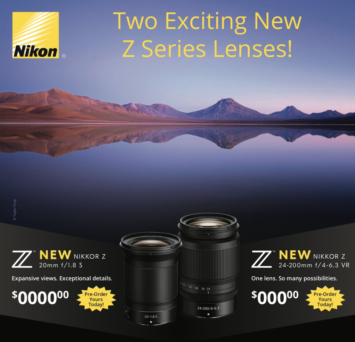 Who's photoing with #NikonZ? Interested in the new lenses? Give us a shout and we'll pre-order one for you!! #mirrorless #fullframe #NikonZ6 #NikonZ7 #NikonZ50pic.twitter.com/JwXs1qZubo