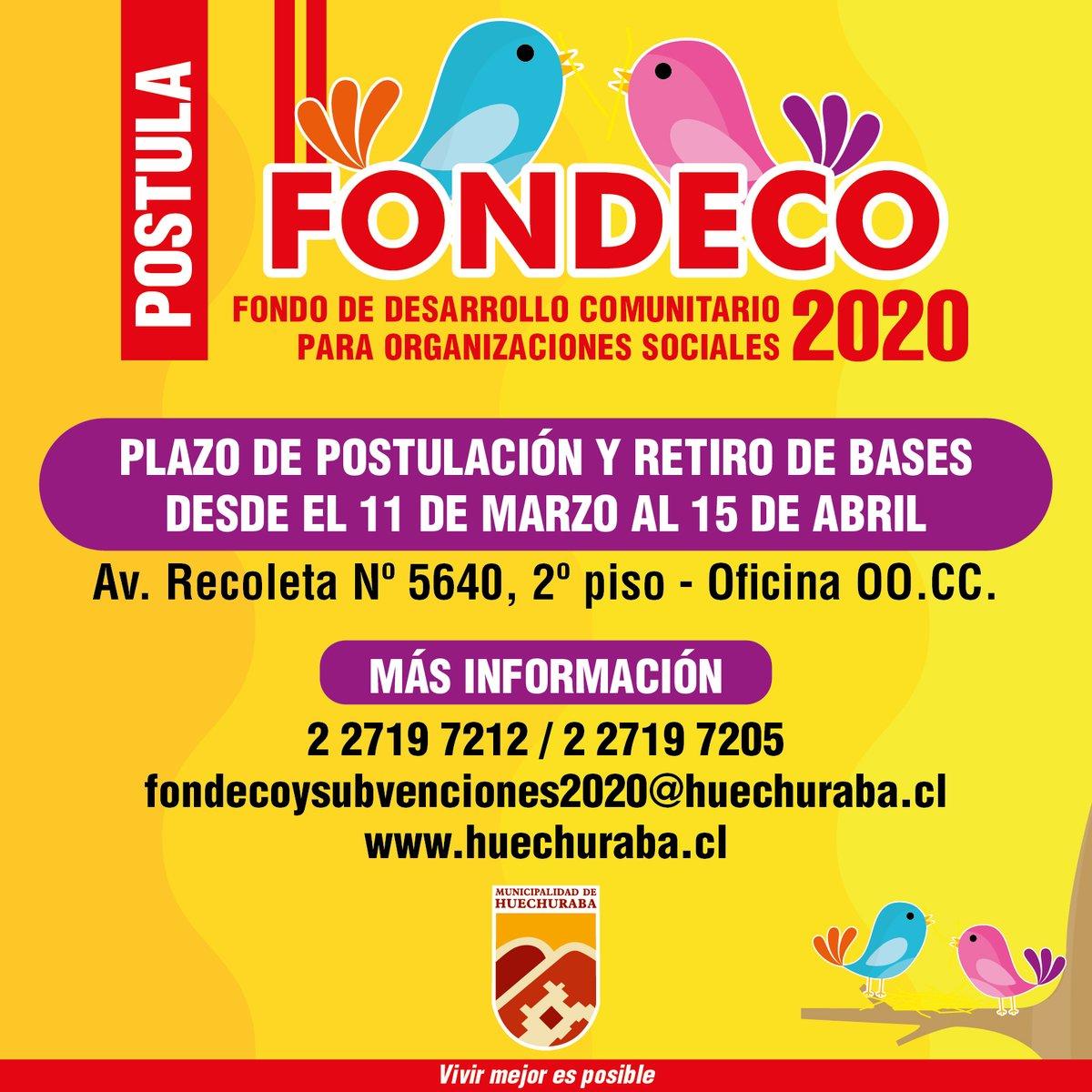 FONDECO 2020: invitamos a postular con sus proyectos a las organizaciones territoriales y funcionales. Más información en https://bit.ly/3cjf5qIpic.twitter.com/v1WQVP0zXe