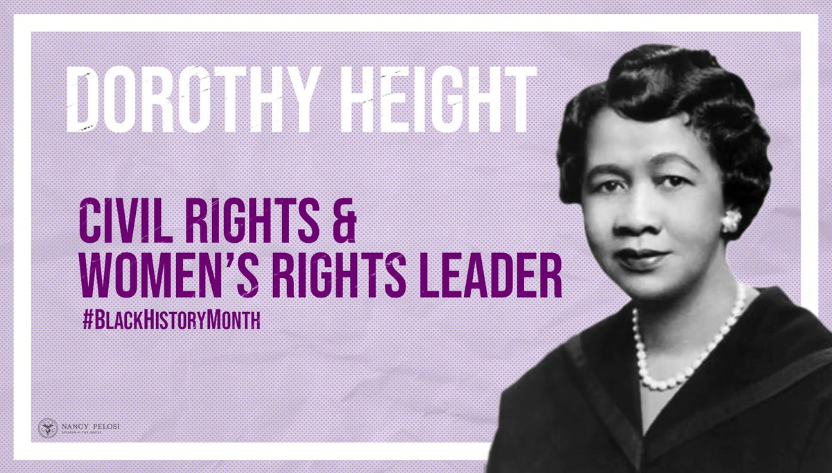 The mother of the civil rights movement, Dorothy Height dedicated her life to the pursuit of justice for all, fighting tirelessly to turn the tides of history towards progress. #BlackHistoryMonth <br>http://pic.twitter.com/Bi4cczphQF