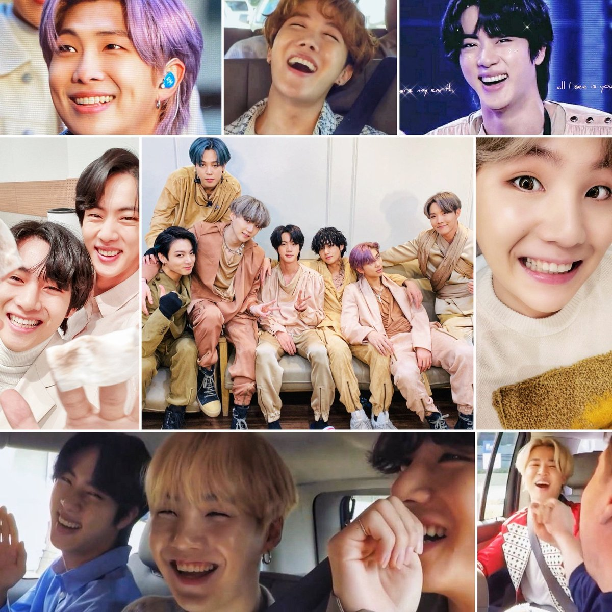 I was scrolling through my recently saved pics of the boys and they've been smiling so beautifully lately? Here are a few. Wanted to share with #BTSARMY  because at zero o'clock, when a new day begins, we will be happy    @BTS_twt #BTSComeback2020<br>http://pic.twitter.com/uZOjJFQPXJ