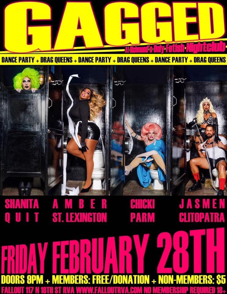 So @chickiparm says she's gonna show some skin tonight at @FalloutRVA.  Get ready to GAG!  Performances from @_AmberSaint, @missfitmissquit, @thAttGuRlll & the  herself begin at 10pm!pic.twitter.com/kDmWw86udY
