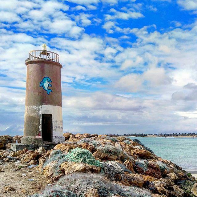 #djba_43 #bluedolphin by @invaderwashere #djerba #tunisia  #urbanart #streetart #invader #invaderwashere #dolphin #blue #lighthouse #sea #beach #fish #harbor #rock #water #tiles #mosaic #ceramic
