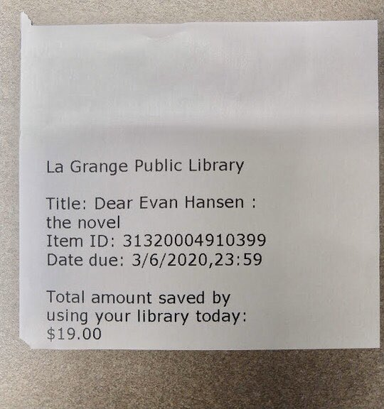 What's that you say? I saved $19 checking this book out of the library!   See the savings on our new check out receipts! #LibraryLife <br>http://pic.twitter.com/UOV6LLrcCi
