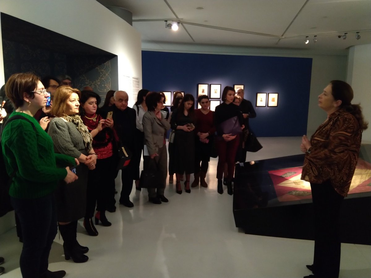 @icomazerbaijan family visits the exhibition  #RescuedMasterpieces@HA_Center curated by Dr Irina Koshoridze, Chief Curator of Oriental Collections, Museum of Fine Arts, Georgian National Museum#exhibition #curatortalk #sharingexperience #learning #getinspired