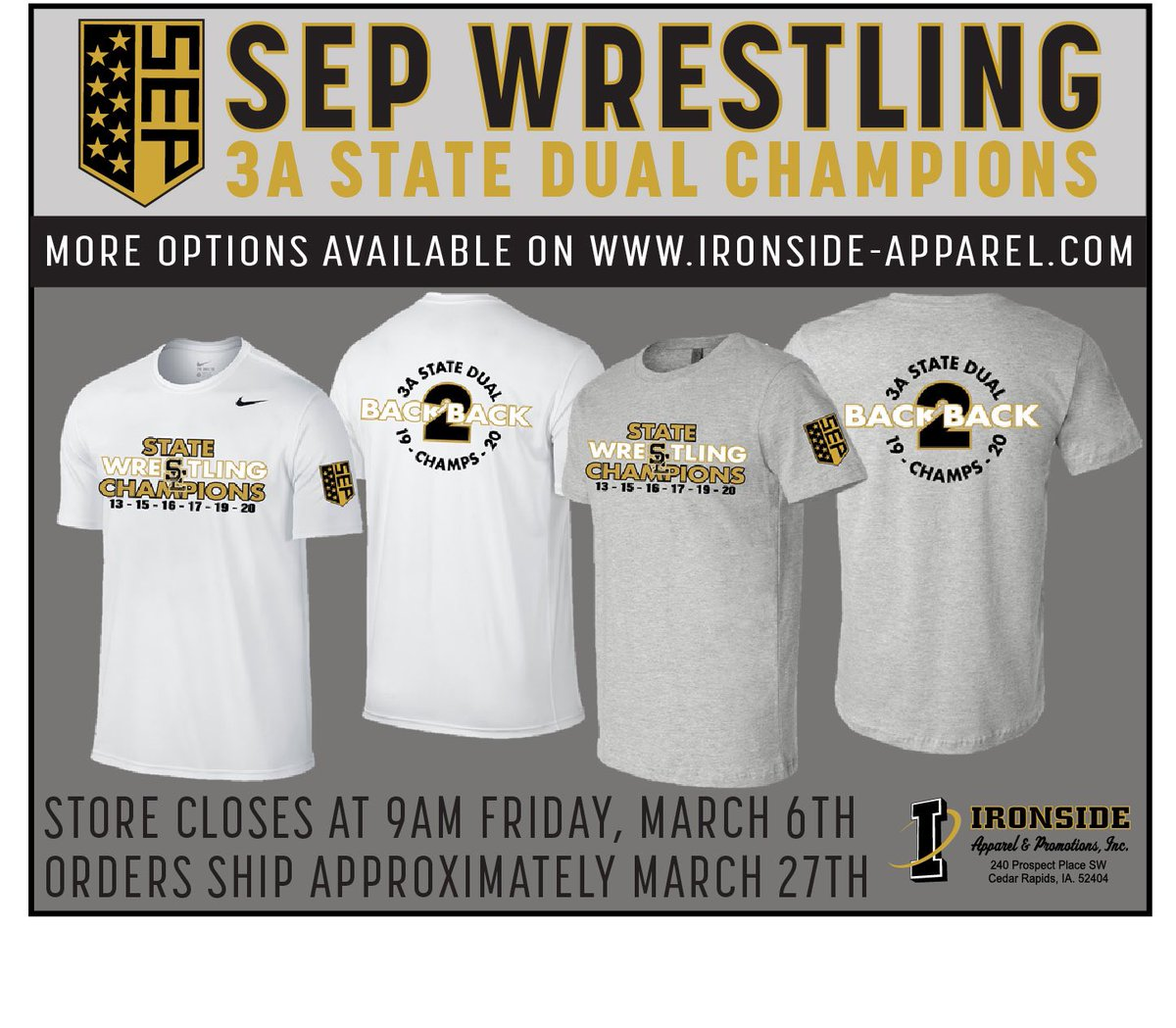 🚨👉🏻🐏STATE CHAMPS🤼♂️👈🏻🚨gear is now available until March 6. I'll give away a long sleeve Nike ($40) for every 25 RT's received.  #Back2BackDualChamps  https://t.co/wC9CVHtz32 https://t.co/u9izUqTjiX
