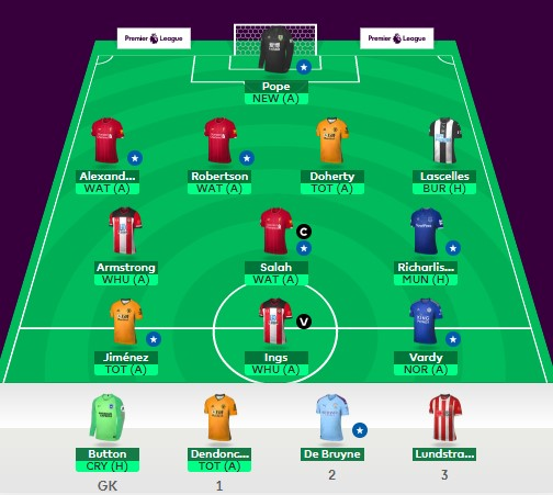 This is my #FPL team for GW28.  Transfers: Stevens + Martial + Redmond  Doherty + Richarlison + Armstrong (-4) In the bank: £0.2m pic.twitter.com/LviFxiYbhc