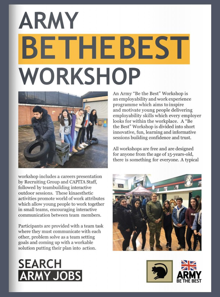 EMPLOYABILITY @Army_BeTheBest Workshop in #Sunderland 25th March. See attached flyer.  Team-building #fun effective #communication skills #resilience Learn about @armyjobs & #Careers with @hq_recruiting  Meet & chat with your peers, meet recruits & young soldiers #ArmyConfidence