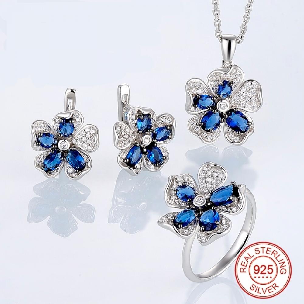 #cute #pretty HANDMADE Silver Flower Jewelry Set Blue CZ Stones