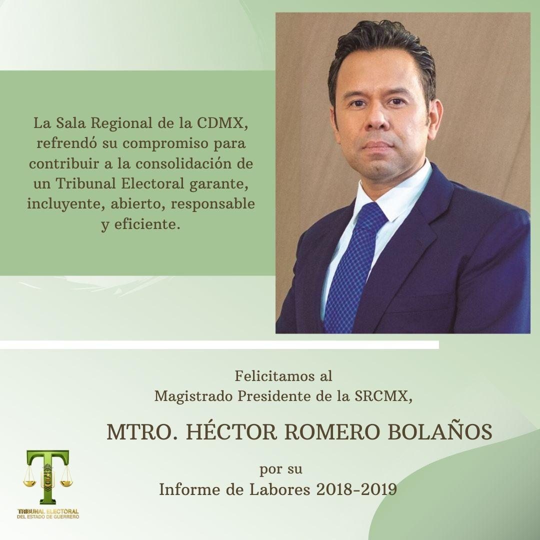 #InformeSRCDMX  La Sala Regional Ciudad de México del TEPJF presenta su #InformeDeLabores 2018-2019.pic.twitter.com/P4XzZcLSug