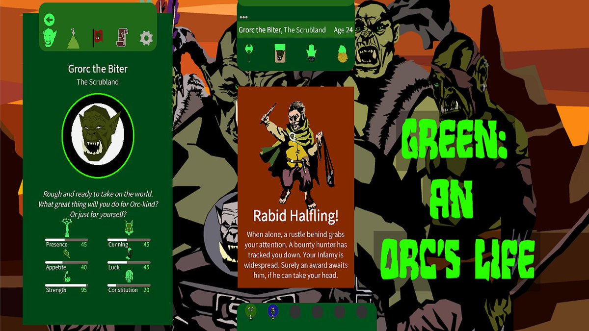 STEAM PAGE NOW UP!!! A Reigns-like card-swiper. Grow an orc. Pilot it through a life of pillage, plunder and gluttony.   Planned for release- early 2020 for Steam and mobile.  https:// is.gd/Udbltz     #indiedev #SGTVA #cardgame <br>http://pic.twitter.com/81knln4dTn