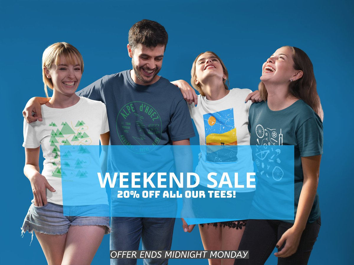 WEEKEND SALE NOW ON! GET 20% OFF ALL OUR T-SHIRTS  #cycling @UCI_Track <br>http://pic.twitter.com/62kUIaEYni