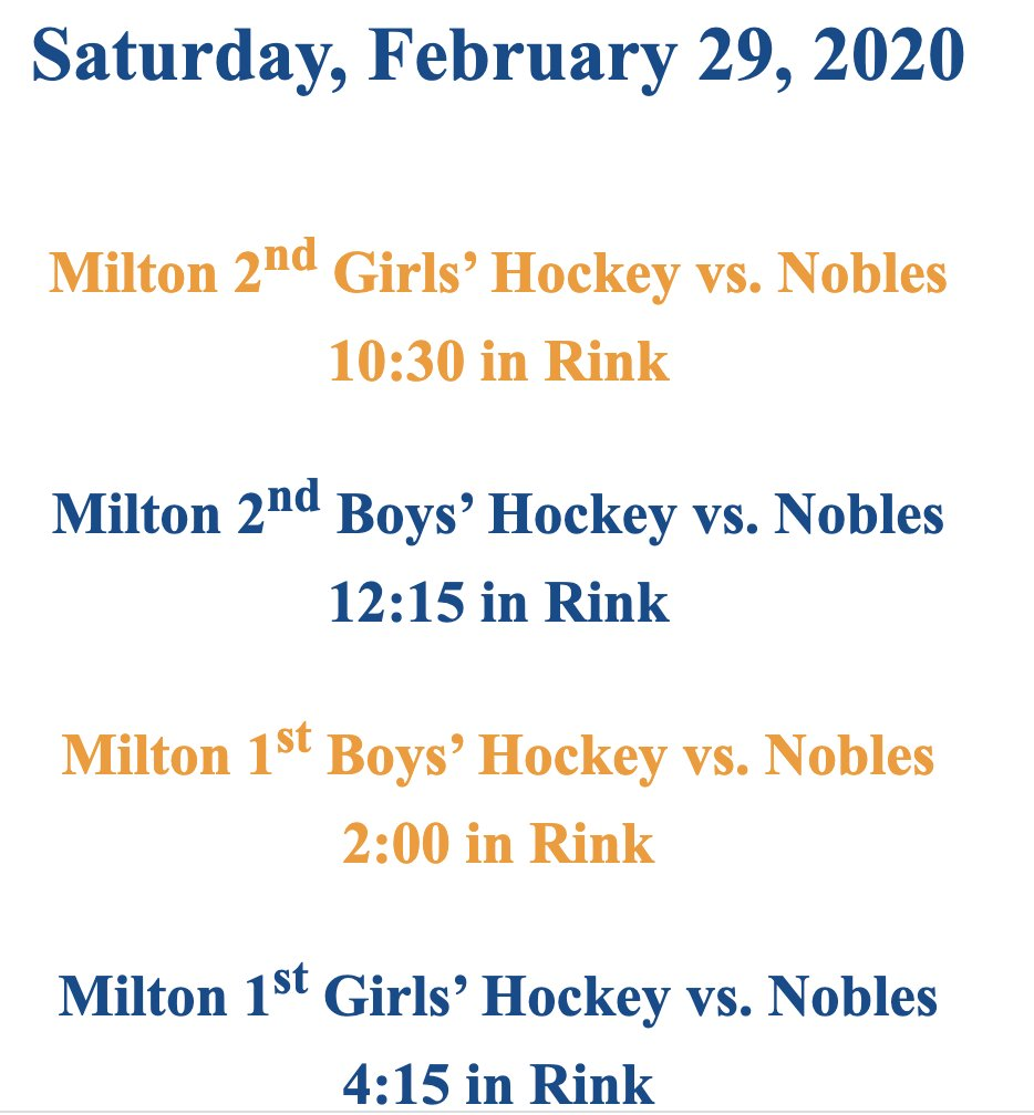 Come out for Milton-Nobles hockey action tomorrow!