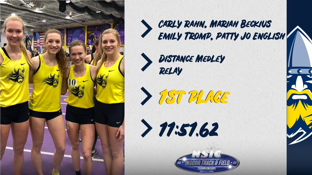 Congratulations to the women's DMR team on taking home first-place honors with a provisional mark!   #BuildingChampions<br>http://pic.twitter.com/a21xEHvoWA