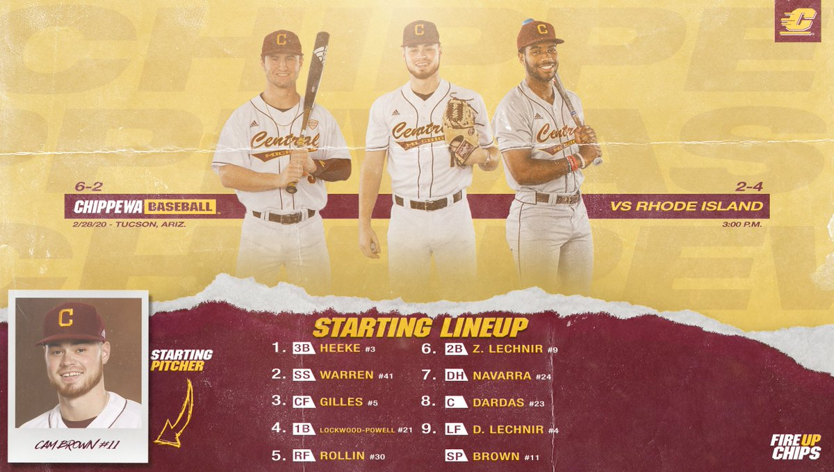 Lineup card is in for today's matchup with Rhode Island!  #FireUpChips 🔥⬆️⚾️