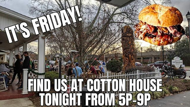 It's Friday folk! @cottonhousecraft tonight 5p-9p or until we sell out. #getoutside #fridaynight #downtowncary #peoplewatchin #bbq #localbeers #friendshipgoals https://ift.tt/39aOpGDpic.twitter.com/9hkEjpfDQ9