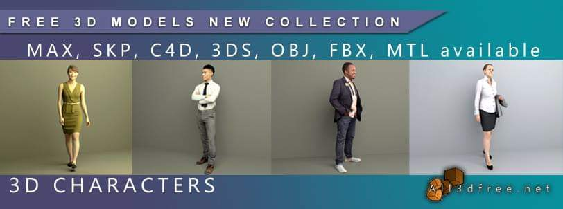 3D Characters free collection. File in max, 3ds, obj, skp, c4d, fbx, mtl and other formats.  #3dmodels #free3dmodels #3dcharacter #3dpeople #3dfigure #3dsmax #3ds #skp #c4d #free3dmodels