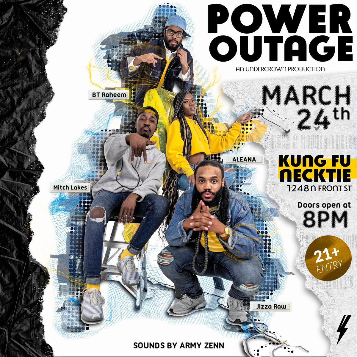 #POWEROUTAGE   MARCH 24th   I'm providing the sounds for  @weareundercrown's first show production along w some amazing artists underground ⚡️⚡️⚡️  Live performances by @aleanaop @mitchlakes @jizzaraw and @BT22_  tix avail via @weareundercrown  http://poweroutagekfn.eventbrite.com