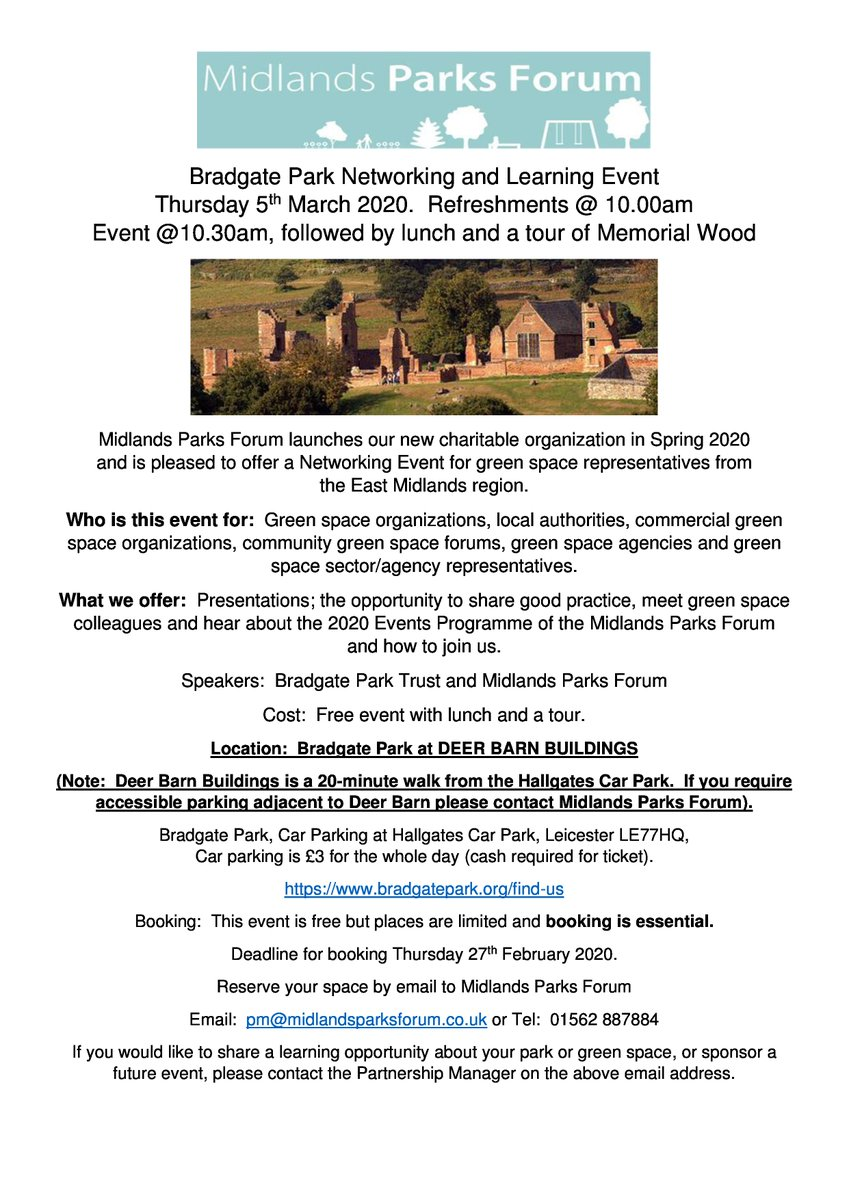 Welcoming East Midlands green space colleagues to @BradgatePark for a green space learning event. If youre an East Mids local authority, sector, charity or commercial organisation and would like to book a free place, please contact us. details below.