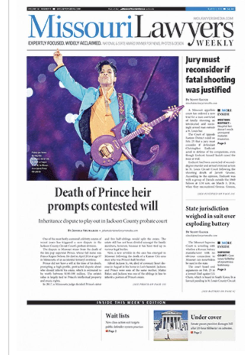 Death of #Prince heir prompts a contested will issue in #Missouri, yes Missouri.