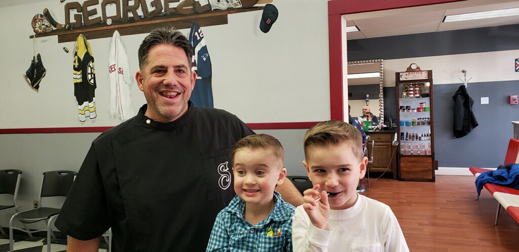 Having #Fun with these 2 #Cool #Kiddos today at George's #BarberShop💈#Saugus #Barber #BoysHaircuts