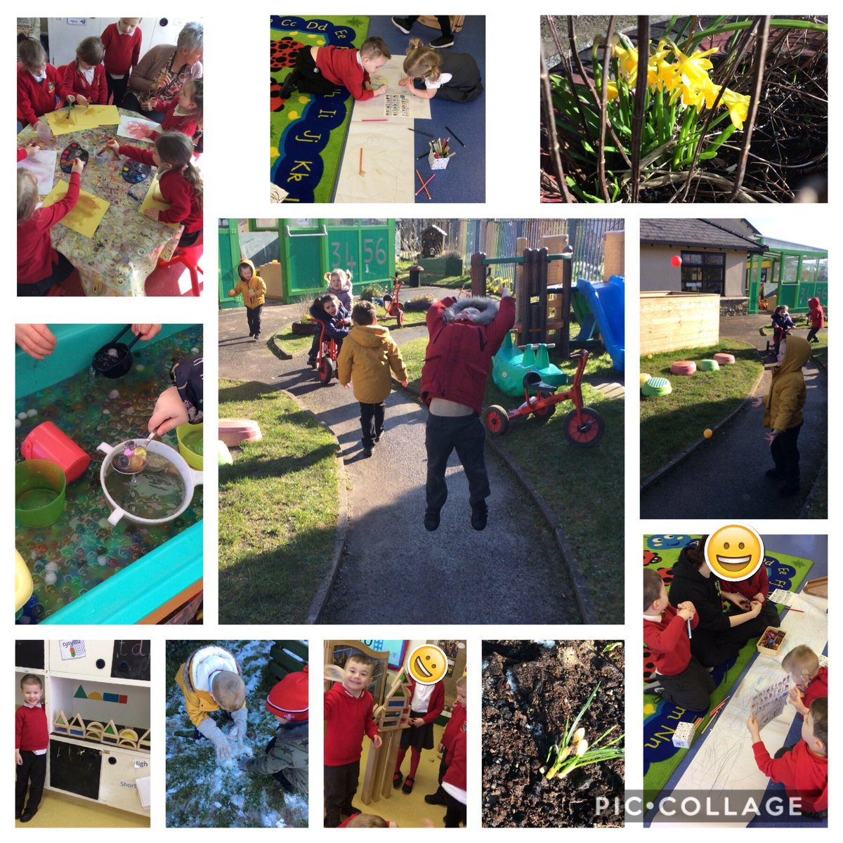 Feels like we have experienced lots of  different types of weather this week! The children hunted for Elsa in nursery garden (because she made it snow) & built Olaf  we watered our flowers in the sunshine  and splashed in muddy puddles in the rain @garntegprimarypic.twitter.com/tlNBfCOoAr