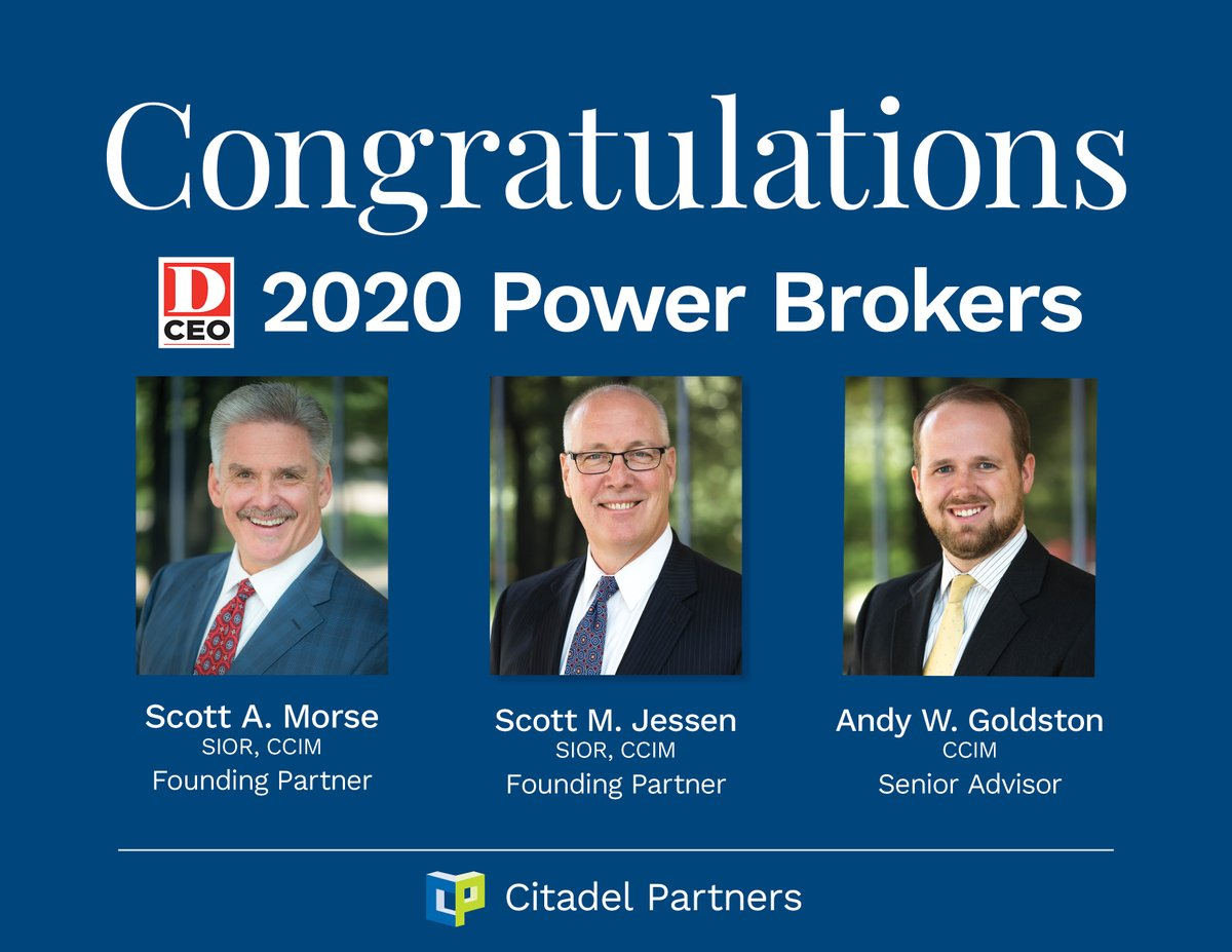 test Twitter Media - D CEO, thank you for recognizing Citadel Partners, LLC's Scott Morse, SIOR, CCIM, Scott Jessen, SIOR, CCIM and Andy Goldston, CCIM as 2020 D CEO Power Brokers!   #CitadelPartners #DallasCommercialRealEstate https://t.co/LRItn25Mea