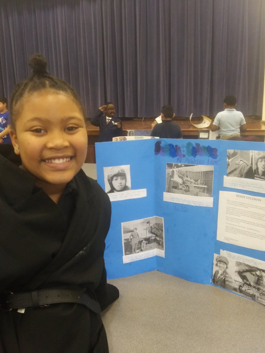 """Today, this student is Bessie Coleman. She is the first American American female pilot. Her plane was called """"Queen Bess.""""pic.twitter.com/Si0ysz7Ej5"""
