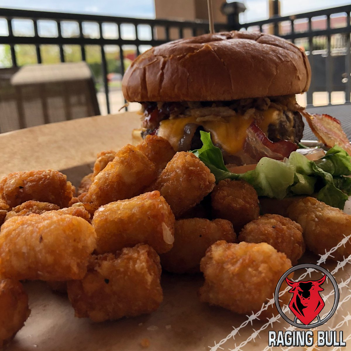 Start your #weekend off right with a #delicious #burger and #tatertots🍔🥔