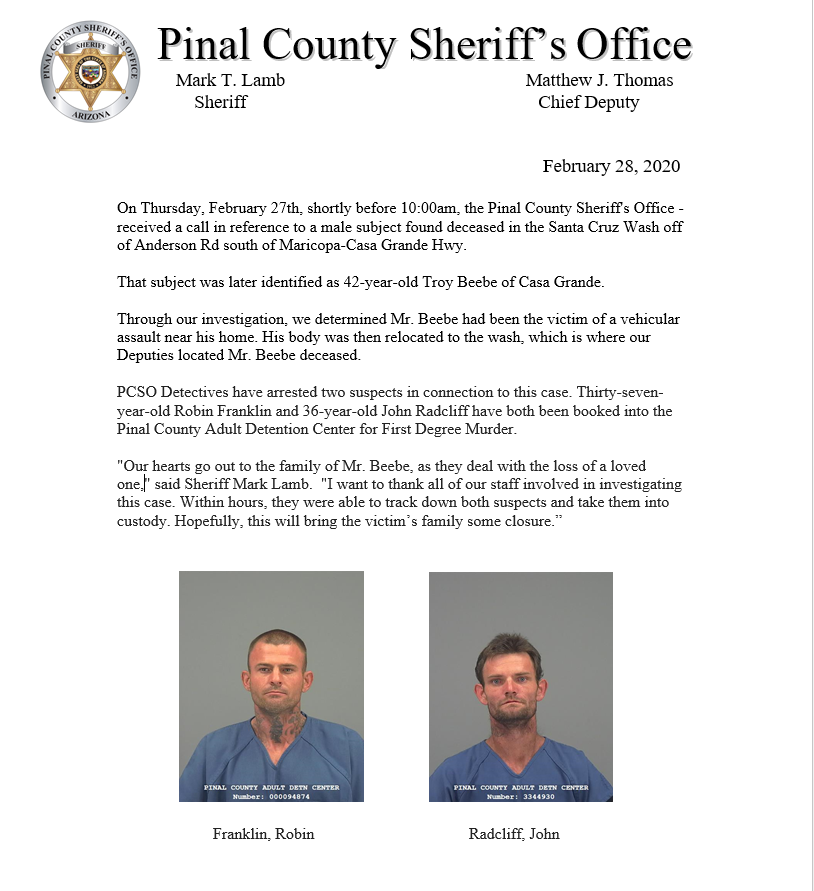Please see the attached media release regarding a homicide investigation.