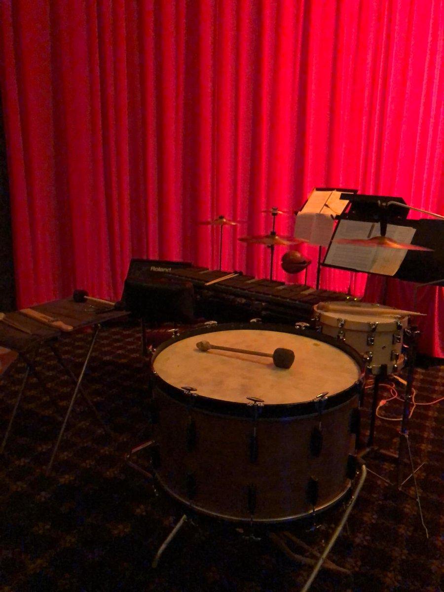 #JCDEnsemble #Percussionist SLAM setup for Nosferatu #livescore at The Vista presented by @secretmovieclub. #GranCassa #BassDrum #piatti #cymbals #marimba #MalletKatpic.twitter.com/x1EkfGKHnS