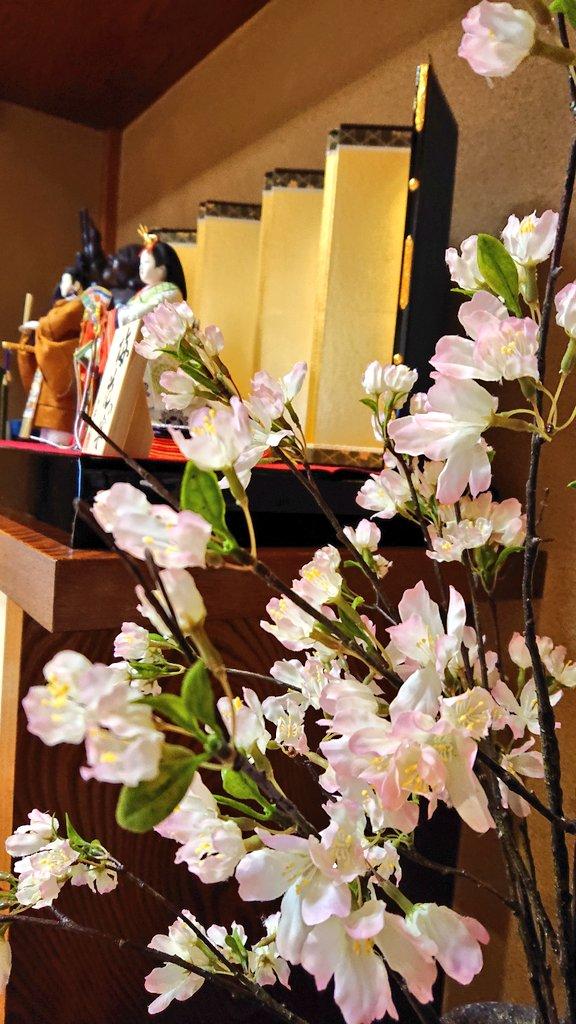桜買って春らしくしたから見て #新型コロナで殺伐としたTLに平和な写真を投下  #雛人形 #黄櫨染 https://t.co/TJoCameHps