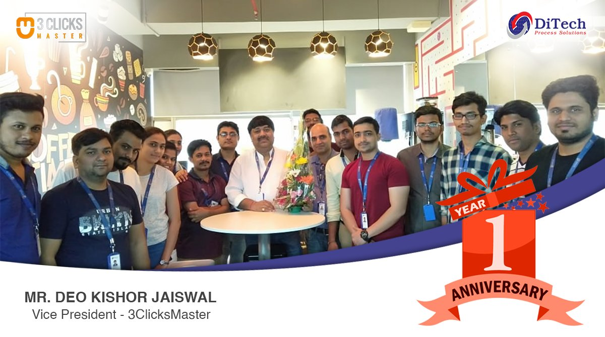 Each Day You Work with Passion, You just Polish and Refine Yourself. Happy work anniversary to Mr. Deo Kishor Jaiswal. Every day we get inspired and we learn a lot from you. #getinspired #workanniversary #3clicksmaster #inspiration #DiTech