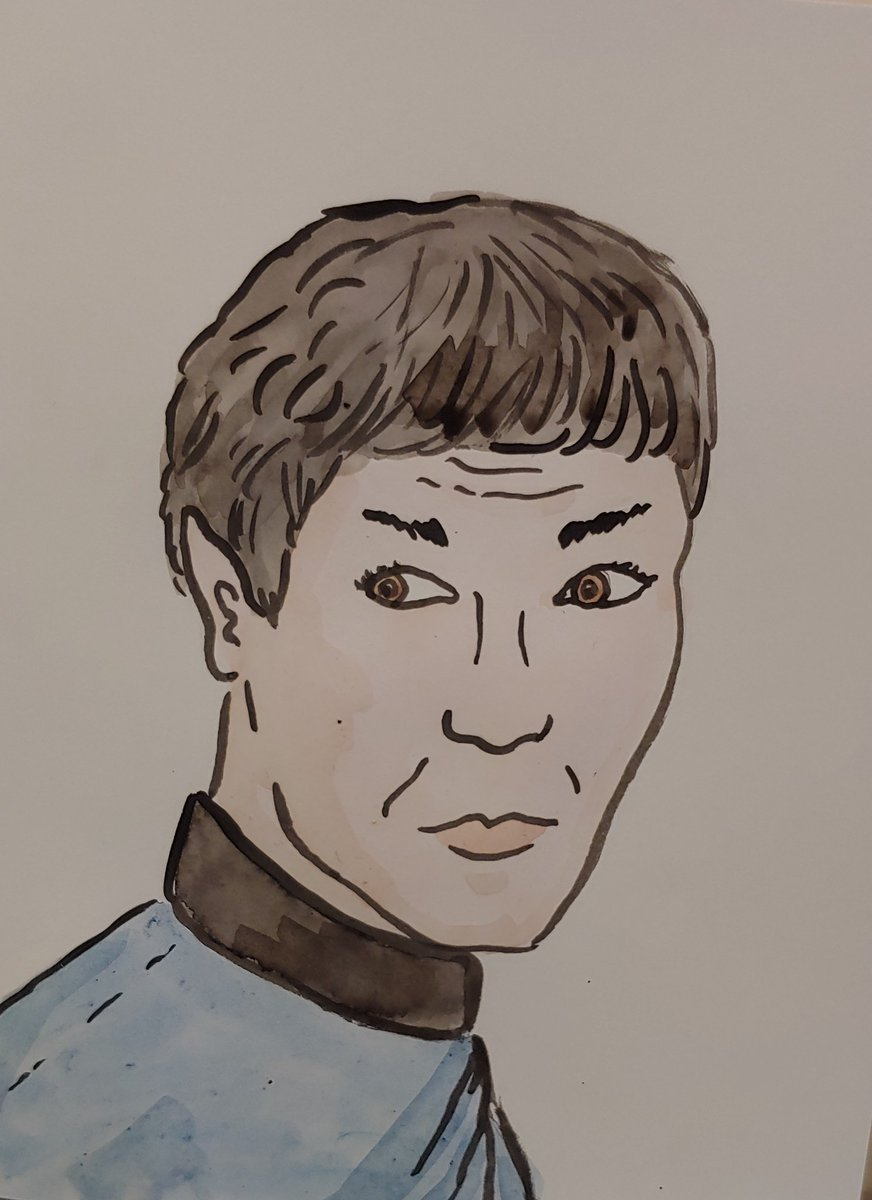 Painted Spock for my mom's birthday card this year! Enjoy my amateur watercolours!!  #leonardnimoy #spock #startrek #watercolour #portrait #art #painting #portraitspic.twitter.com/ZpLLmRXzDZ