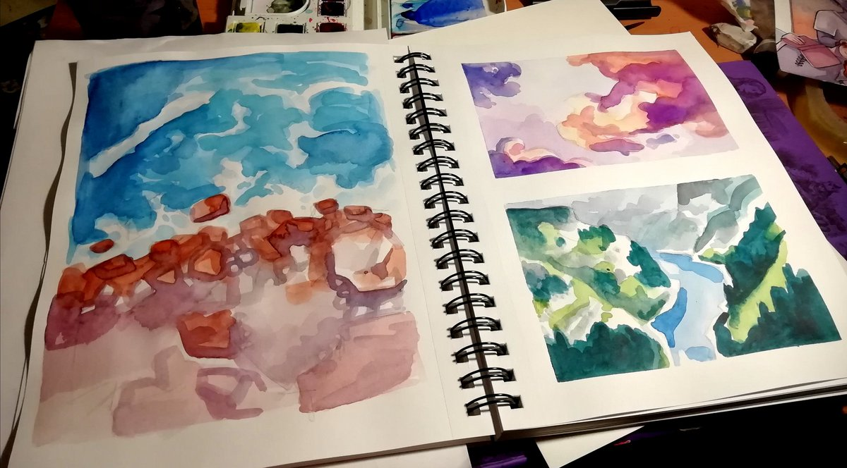 Some loose watercolour studies from last night pic.twitter.com/VIq3tAIHWr