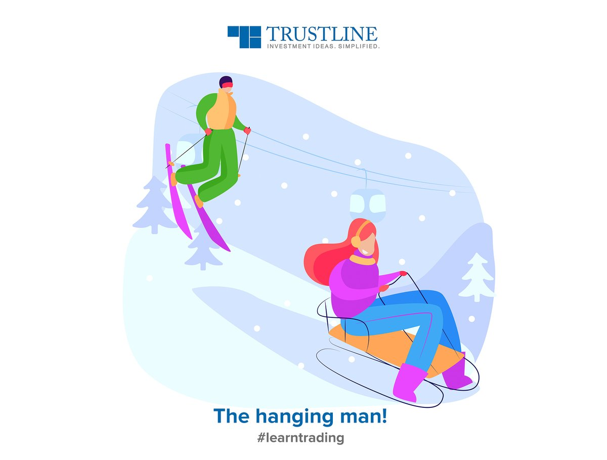 The hanging man is a paper umbrella pattern which appears at the top end of the trend. Look at selling opportunities when it happens, and set the high as the stop loss. #learntrading https://www.trustline.in/financial-markets …