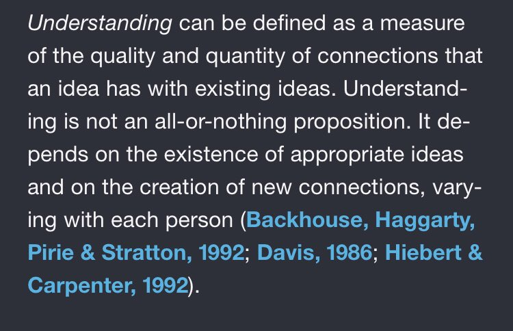 Definition of understanding for maths. But relevant to all learning. From Van der Walle et al. #mt #maths