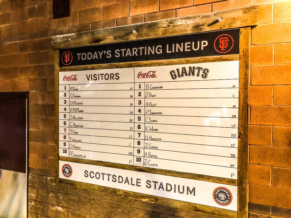 Generations old and new of @GoSquirrels alumni in tonight's #SFGiants starting lineup.   Crawford and Belt from the franchise's first season. Bart, Shaw and Ramos from last season. pic.twitter.com/9Z2zsijZmM