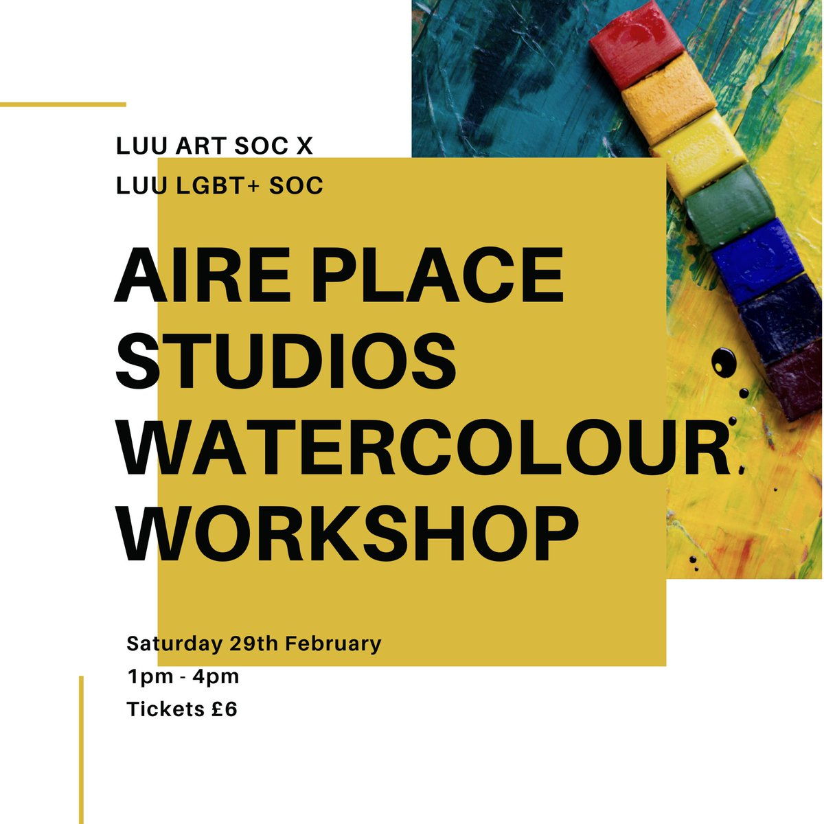 The next few hours also come with the final opportunity to grab tickets to our trip to Aire Place Studios for a watercolour workshop with LUU Art Soc. Tickets are £6 and this price includes all your materials, as well as cake and a drink! pic.twitter.com/e8XPFzEKEf