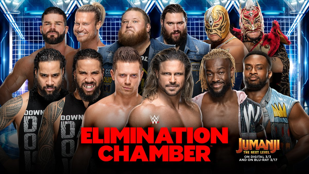 At #WWEChamber, @TheRealMorrison & @mikethemiz will defend their #SmackDown #TagTeamTitles against... ⭐#HeavyMachinery⭐#LuchaHouseParty⭐#TheNewDay⭐@HEELZiggler & @RealRobertRoode ⭐@WWEUsos...inside an #EliminationChamber! 😬https://bit.ly/2PBaRB0