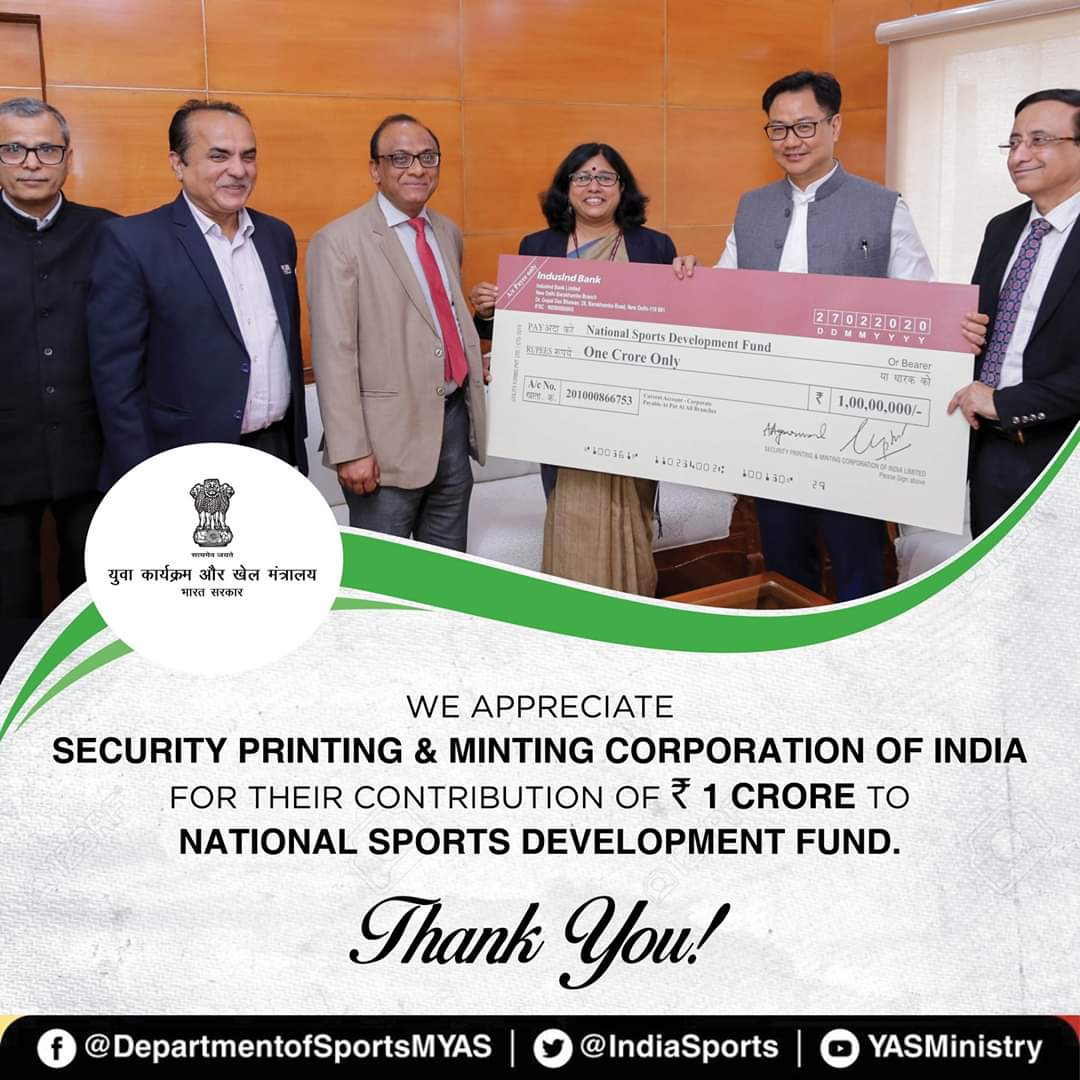 We cordially thanks and appreciate Security Printing and Minting Corporation of India Limited for their support to sports & sports persons by contributing one crore rupee to National Sports Development Fund. Know more about #NSDF & how it works 👉https://bit.ly/2wcbVES
