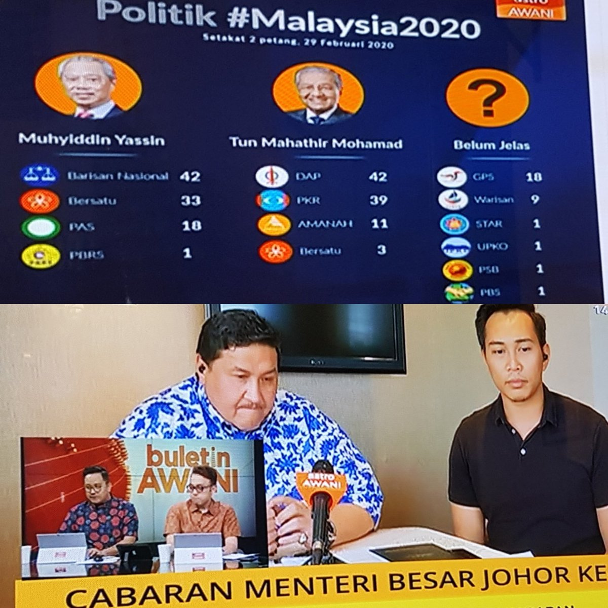 #breakingnews While analysing battle for #putrajaya & #johor @501Awani takes in YAB #CM #Sarawak indication of still with declared support for Tun @chedetofficial but any move to work with @dapmalaysia to be decided by #GPS leaders at meeting in #KL tomorrow #live #Malaysia2020pic.twitter.com/ieLoenxWvI