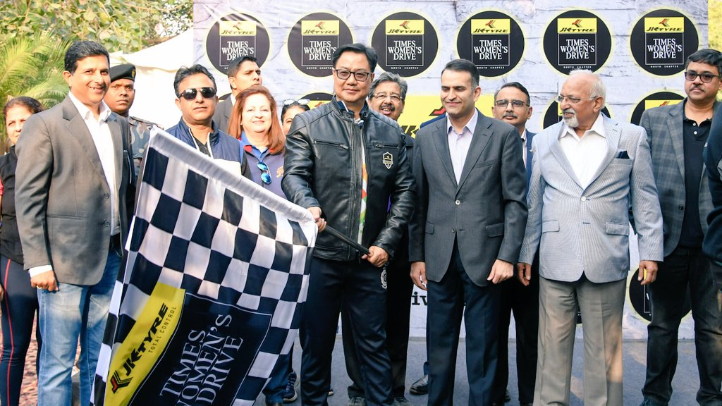 Flagged off the Times Women's Drive & wished a safe & adventurous journey to women drivers up on a Delhi-Jaipur motor drive, organized by JK Tyre & Times Group, to spread awareness about breast cancer, women health and many important social issues. Time, Speed & Distance!