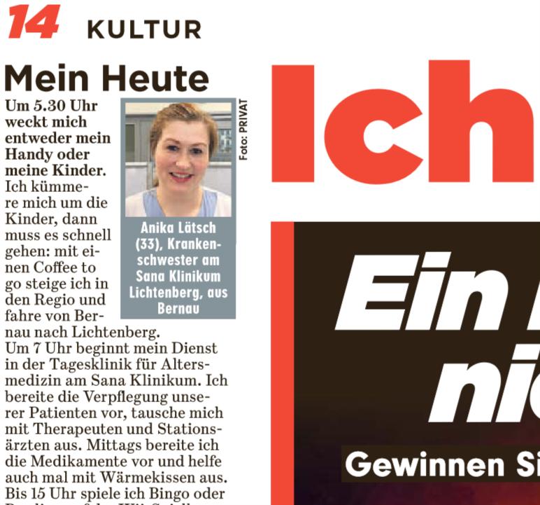 Ich weiß, was du heute tun wirst: @bzberlin auf Seite 14 begleitet unsere Krankenschwester Anika Lätsch vom Sana Klinikum #Berlin #Lichtenberg an ihrem ganz persönlichen Tag: Inklusive Tagesklinik für #Altersmedizin und #Bowling mit Patient*innen auf der Wii-Spielkonsole.pic.twitter.com/Zg5ayATsL6