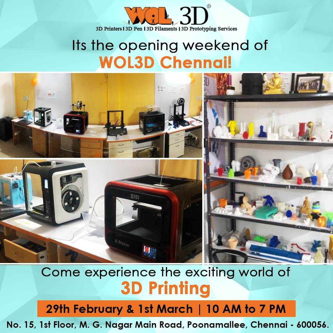 WOL3D welcomes you to our Chennai 3D Printing Chennai!  Wide range of 3D Printers, 3D Pens, 3D Scanners and 3D Filaments available for you!  Call 08526766849 for more information! 😊  #wol3d #3DPrinting #3DPrintingIndia #chennai