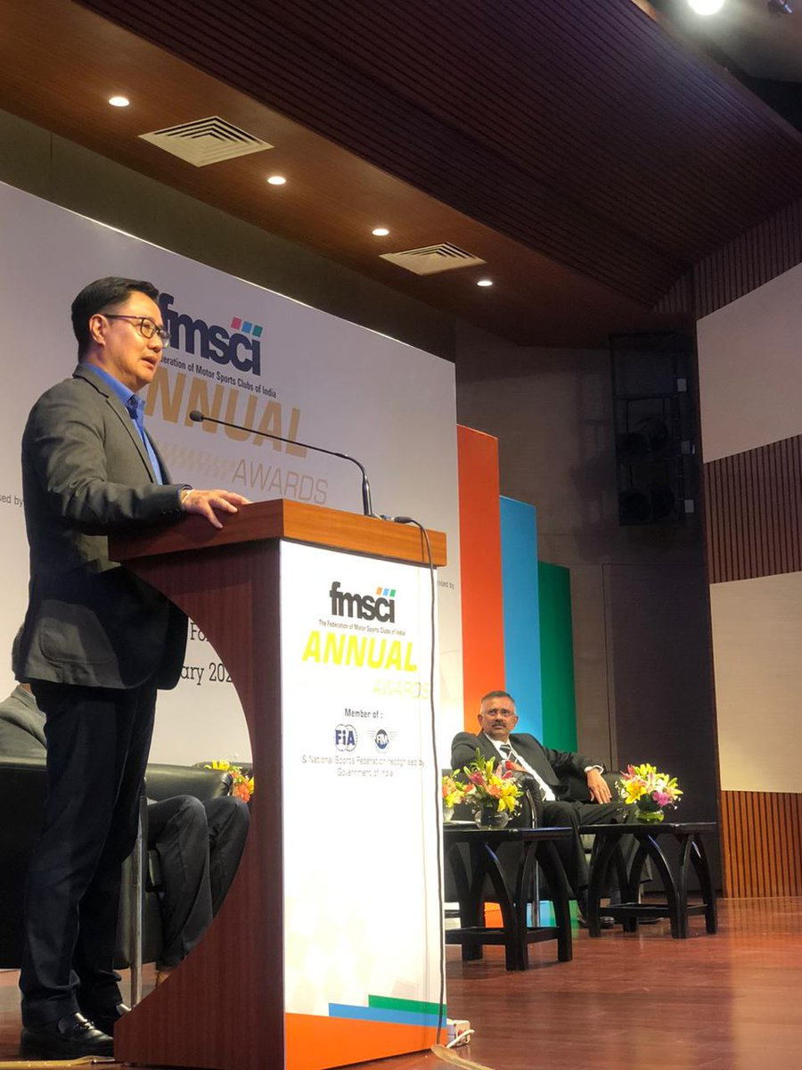 It was a full house as @KirenRijiju addressed the gathering at the  @fmsci awards celebrating the outstanding achievements of Indian motorsports with national champions like @gillracing and @misspissay. His speech ended with a standing ovation from the audience.